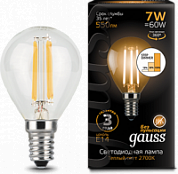 GAUSS Лампа светодиодная LED 7Вт E14 2700K Filament Globe step dimmable Gauss